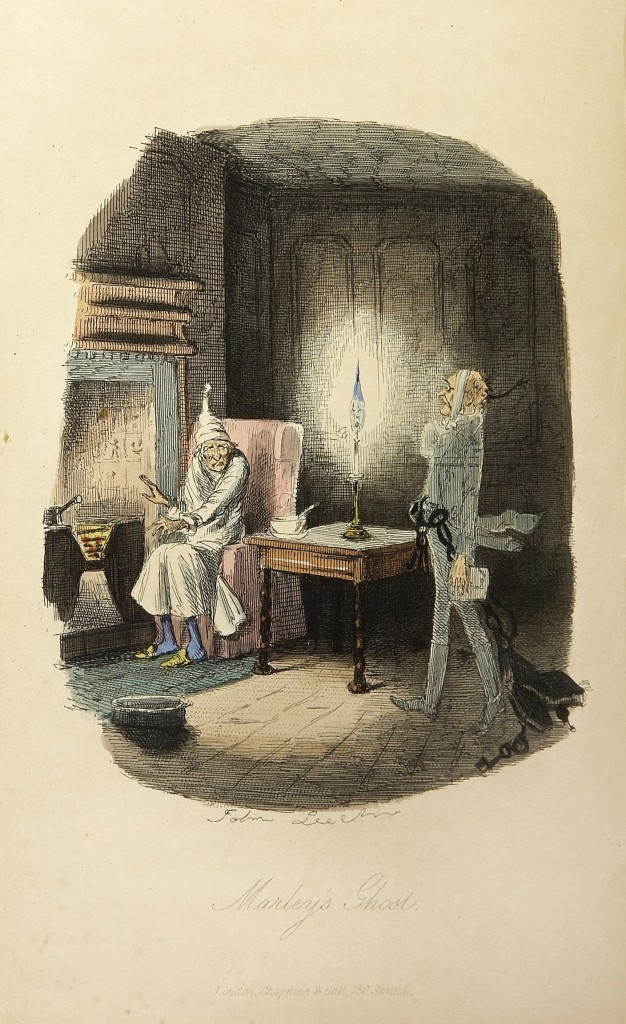 History of Christmas In America - Ebenezer Scrooge and the ghost of Marley.